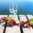Two winglasses and autumn leaves on a wooden jetty — Foto Stock