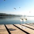 Royalty-Free Stock Photo: Two champaign glasses against a lake