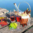 Two wineglasses on a wooden jetty — Foto de Stock