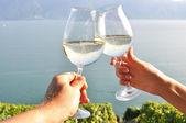 Two hands holding wineglases against Geneva lake, Switzerland — Stock Photo