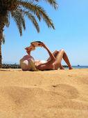 Cena de praia. playa teresitas. tenerife, ilhas canárias — Fotografia Stock