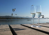 Two champagne glasses against a lake — Foto de Stock