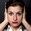 Woman how can't hearing — Stock Photo #8049480