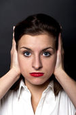 Woman how can't hearing — Stock Photo