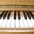 Stock Photo: Closeup of old piano keyboard.