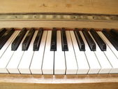 Closeup of old piano keyboard. — Stock Photo