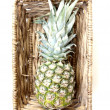 Tropical pineapples fruits in basket — Stock Photo