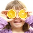 Stock Photo: Girl with orange slices