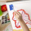 Child draws a picture — Stock Photo