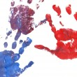 close up of colored hand print on white background — Stock Photo