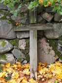 Wooden Cross on a Graveyard — Stock Photo