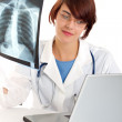 Doctor examining an x-ray image — Stock Photo