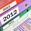 2011, 2012, 2013, folders on financial report — Stockfoto #8297372