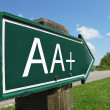 AA-plus (credit rating) signpost along a rural road - Stock Photo
