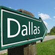 Dallas signpost along a rural road — Stock Photo