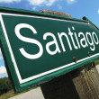 SANTIAGO road sign — Stock Photo