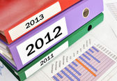 2011, 2012, 2013, folders on a financial report — Stock Photo