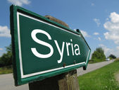SYRIA signpost along a rural road — Stock Photo