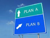 PLAN A -- PLAN B road sign — Stock Photo