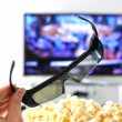 3D glasses against TV-set — Stock Photo