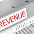 REVENUE folder on a market report — Stock Photo