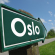 Oslo signpost along a rural road — Stock Photo
