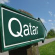 QATAR signpost along a rural road - Stock Photo