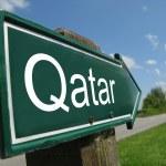 QATAR signpost along a rural road — Stock Photo