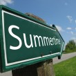 SUMMERTIME sign along a rural road - Stock Photo