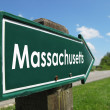 Massachusetts signpost along a rural road — Stock Photo