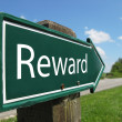 Stock Photo: REWARD signpost along rural road