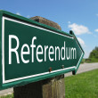 Stock Photo: Referendum arrow signpost along rural road