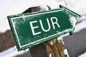 Panneau de signalisation euro — Photo