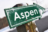ASPEN road sign — Stock Photo