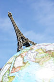 Eiffel tower on the globe — Stock Photo