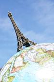 Eiffel tower on the globe — Stock Photo
