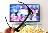 3D glasses against TV-set — Stock Photo