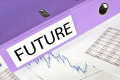 FUTURE folder on a market report — Stockfoto