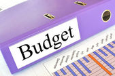 Begroting map op een markt verslag — Stockfoto