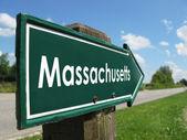 Massachusetts signpost along a rural road — Stock Photo