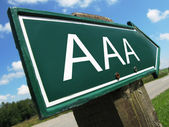 AAA (credit rating) road sign — Stock Photo