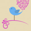 Valentine's Card with Bird — Vector de stock  #8116852