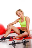 Woman doing fitness exercise — Stockfoto