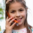 Girl with telephone — Stock Photo