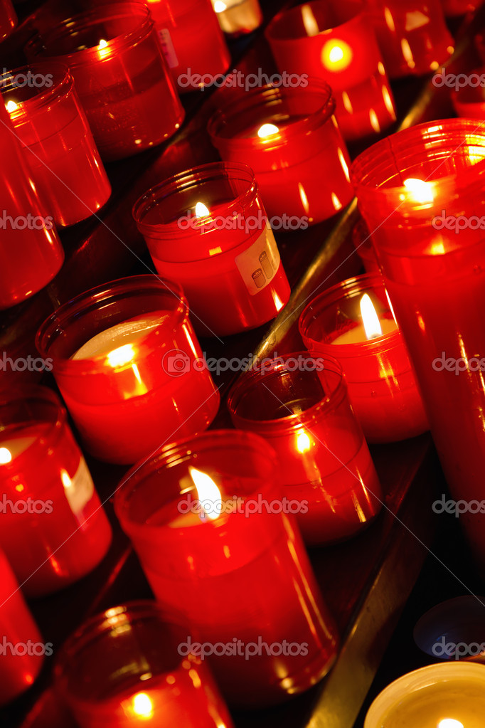 Church candles in red  transparent chandeliers  Stock Photo #8800892