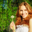 Girl with a dandelion in his hand — Stock Photo
