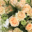 Carnations and roses in pale orange — Stock Photo