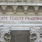 Liberté, égalité, fraternité inscription in townhall Avignon — Stock Photo #10636221
