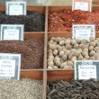 Stock Photo: Different sorts of pepper and other spices
