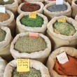 Bags with spices on a french market - Stock fotografie